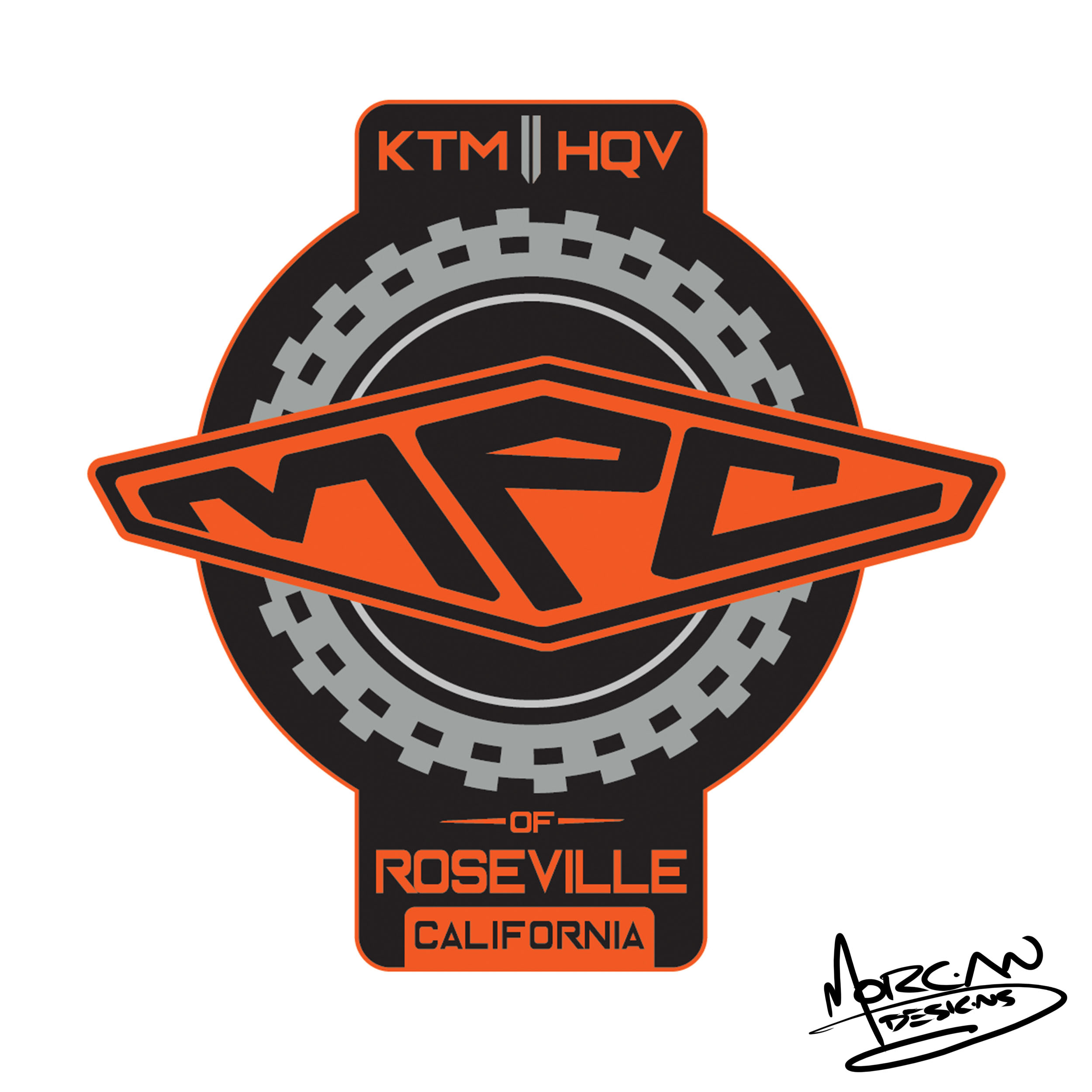 KTM motorcycle shop logo by mike morgan