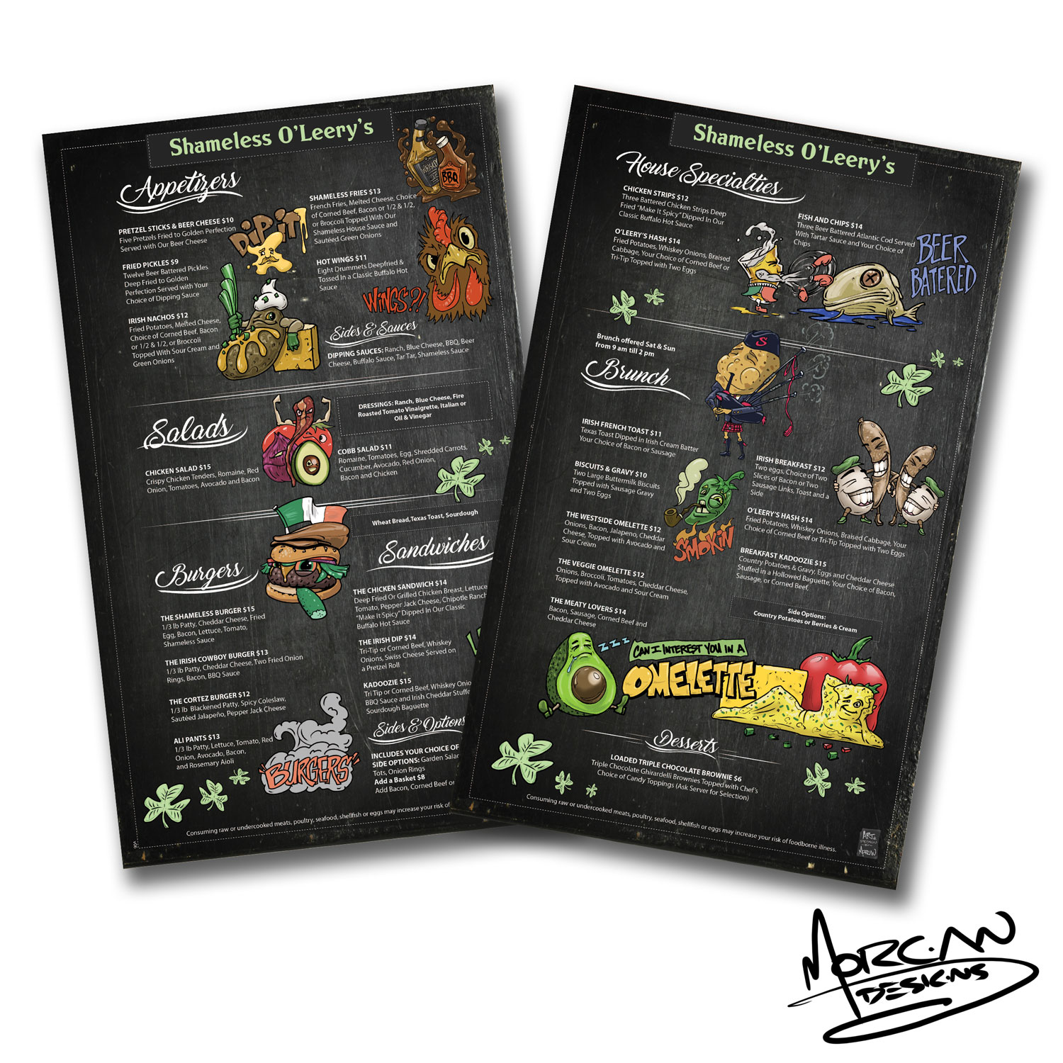 Graphic-Design for Restaurant-Portfolio-Shameless-O'leery's-Menu--Mike-Morgan Designs Redding-Ca